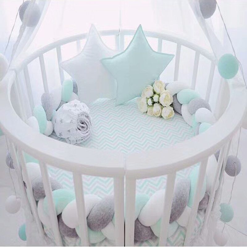 1.5M/2M/3M Baby Handmade Nodic Knot Newborn Bed Bumper Long Knotted Braid Sleeping Pillow Baby Bed Bumper Crib Infant Room Decor