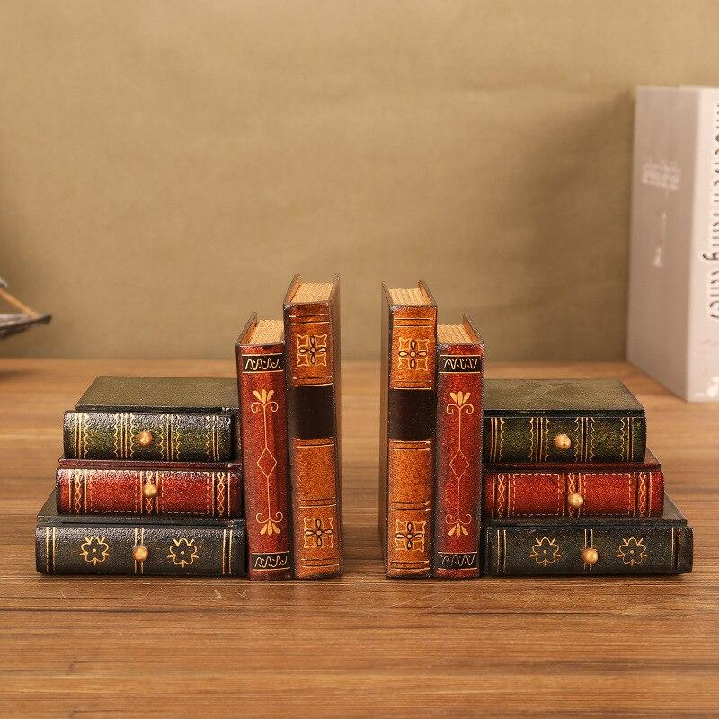 Livres anciens décoration serre-livres figurine Europe style décoration en bois imiter livres serre-livres créatifs