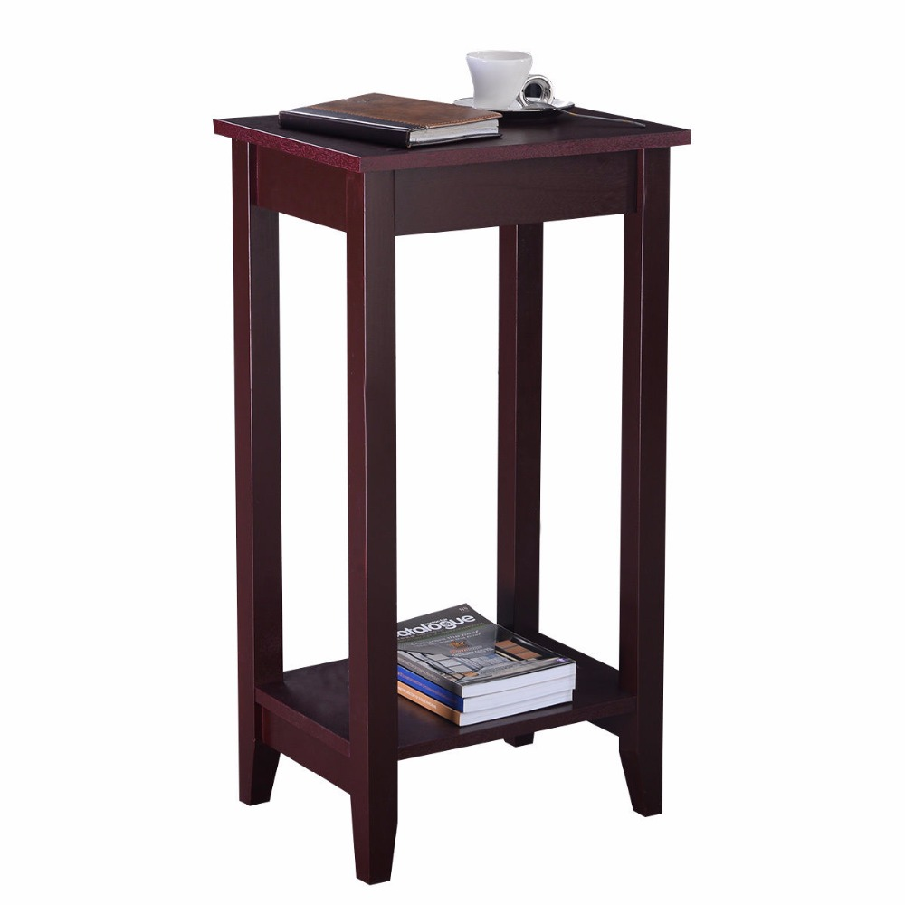 Giantex Tall End Coffee Table Modern Living Room Wood Side Nightstands Multipurpose Shelf Display Rack Console Tables HW51529 leewince hotel trolley coffee tables storage holders multipurpose shelf display rack corner products furniture console tables