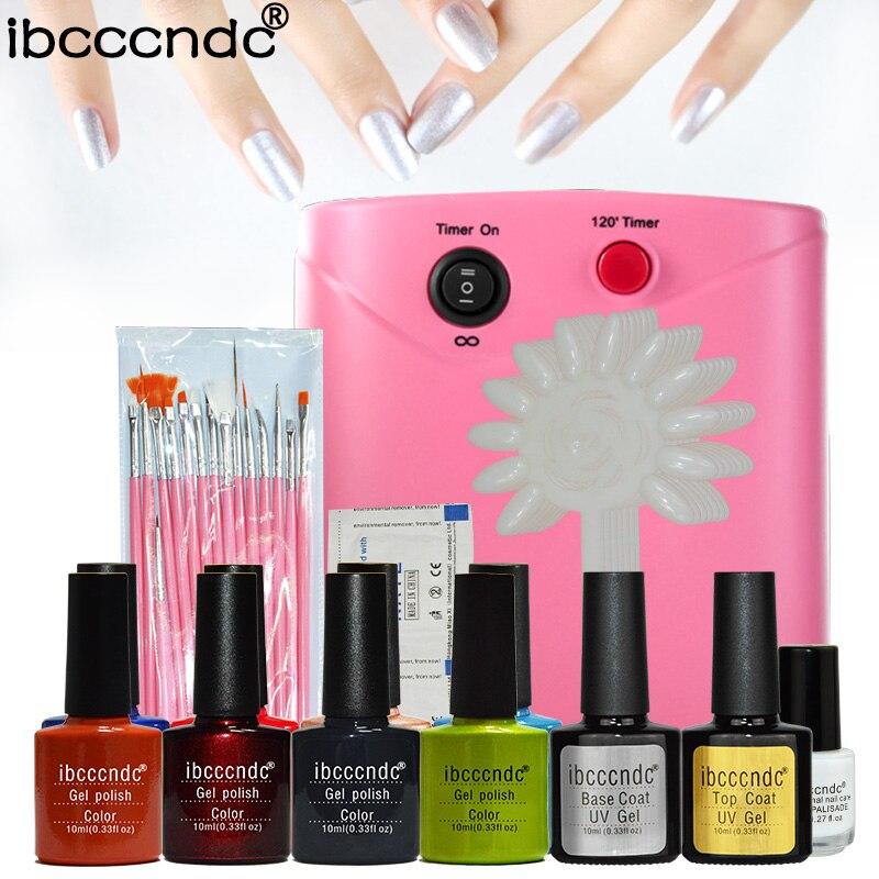 ФОТО Nail protection professional manicure tool 36w UV Lamp+10ml uv Gel varnish+latex liquid+curved nail tips pro nail polish set