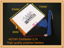 407595 5500mAH Li-ion Tablet pc battery For 7,8,9 inch tablet PC ICOO 3.7V Polymer lithiumion Battery With High Quality