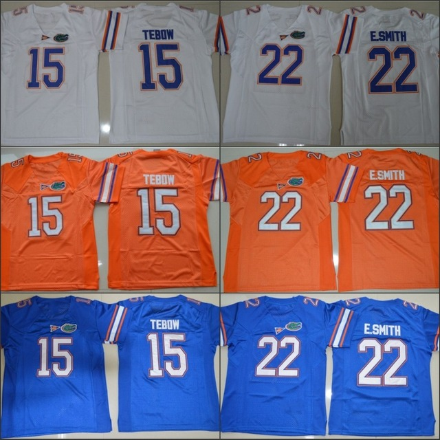 9e3c7dfdc ... france florida gators 15 tim tebow 22 gators e.smith college football  jersey orange blue