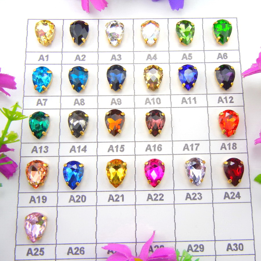 Colorful glass crystal Gold claw 7 Sizes Colors mix teardrop waterdrop water drop Droplet Sew on rhinestone clothes diy trim