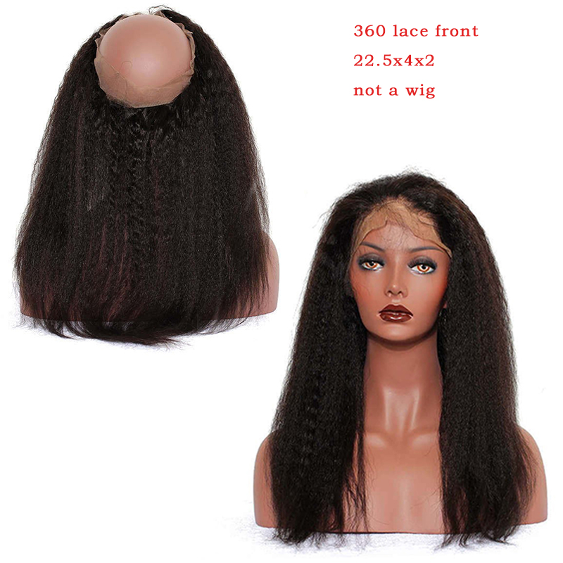 Kinky Straight 360 Lace Frontal Closure Pre Plucked With Baby Hair Brazilian Virgin Human Hair Coarse Yaki Dolago Products