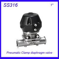 1 SS316L Sanitary Stainless Steel EPDM Pneumatic Clamp Diaphragm Valve Sterile Food Grade F Wine Milk