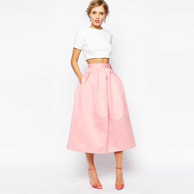 3fdc2d5c8 € 26.81 7% de DESCUENTO|Elegantes faldas de satén Rosa 2016 A línea Chic  Invisible cremallera cintura plisada falda alta calidad té longitud ...