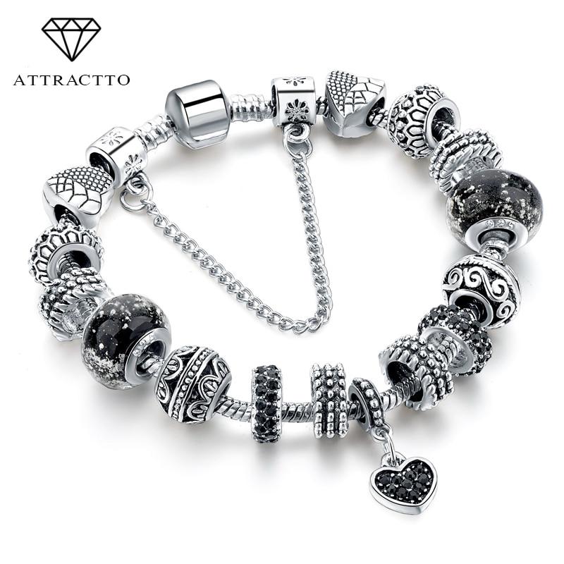 ATTRACTTO Black Charm love Bracelets & Bangles Bead s Bracelets For Women Fashion Jewelry Original Pulsera Bracelet SBR160293(China)