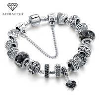 Pulseras y brazaletes de amor de encanto negro ATTRACTTO pulseras de cuentas para mujer joyería de moda Pulsera Original de la manera SBR160293