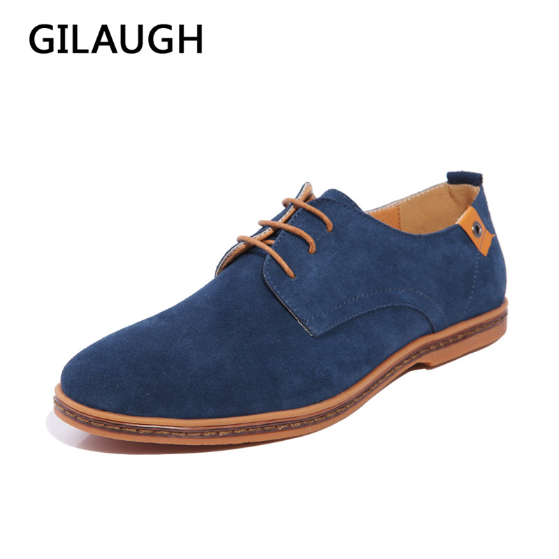 GILAUGH Fashion Hot Män Casual Shoes Vårhöst Oxfords Style Outdoor Flats Vinter Varma Läder Män Skor Stor Storlek 39-48