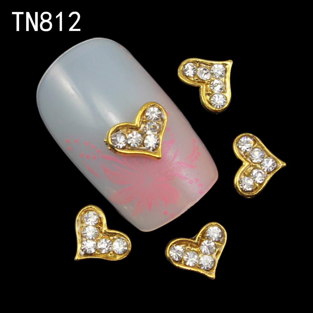 Blueness 10pcs/lot Charms Crystal Strass Nail Art Design Manicure Design Tips Gold Alloy Heart Design Nails Decoration TN812 обои виниловые andrea rossi burano 1 06х10м 2536 4