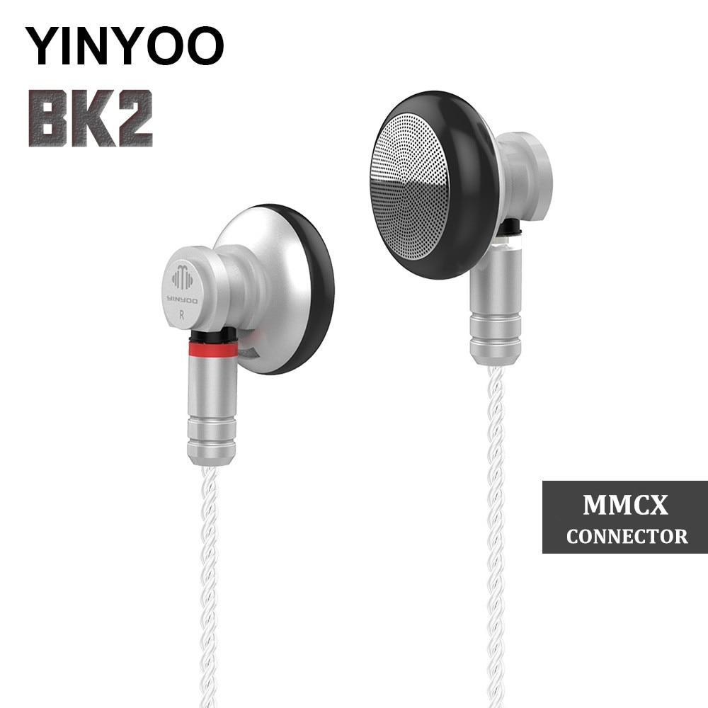 2018 YINYOO BK2 auricular de 14,8mm dinámico conductor auriculares HIFI auriculares de Metal insignia auricular con MMCX Cable desmontable