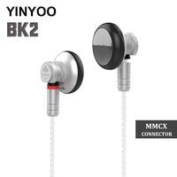 2018 YINYOO BK2 Earbud 14.8mm Dynamic Driver Headset HIFI Metal Earphone Flagship Earbud With MMCX Detachable Cable