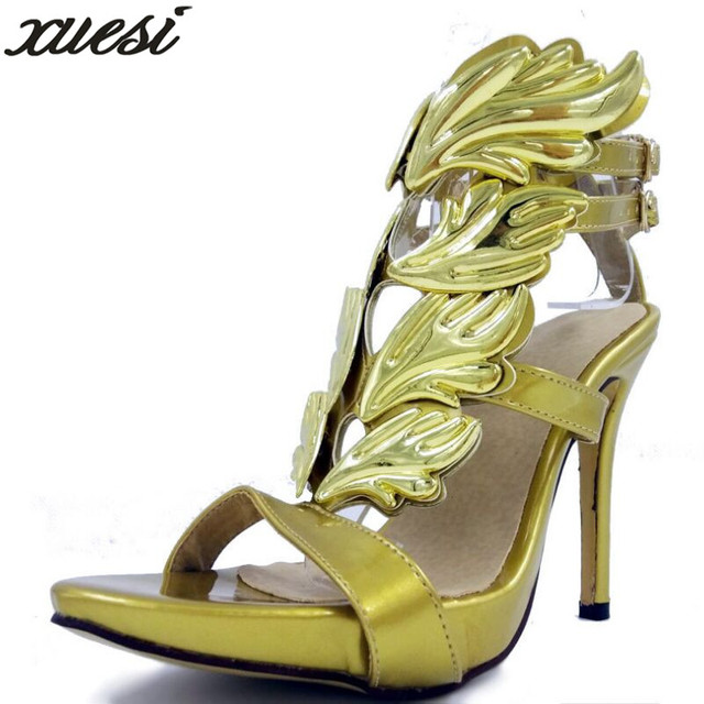 1dab2f271f70 Hot Sell Women High Heel Sandals Gold Leaf Flame Gladiator Sandal Shoes  Party Dress Shoe Woman Patent Leather High Heels 32-46