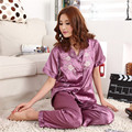 Pijamas de las mujeres Pijamas de Satén De Seda de manga Corta + pantalones Puntada Pijama Mujer Mujeres Salón Conjuntos de Pijamas Más Tamaño 3XL
