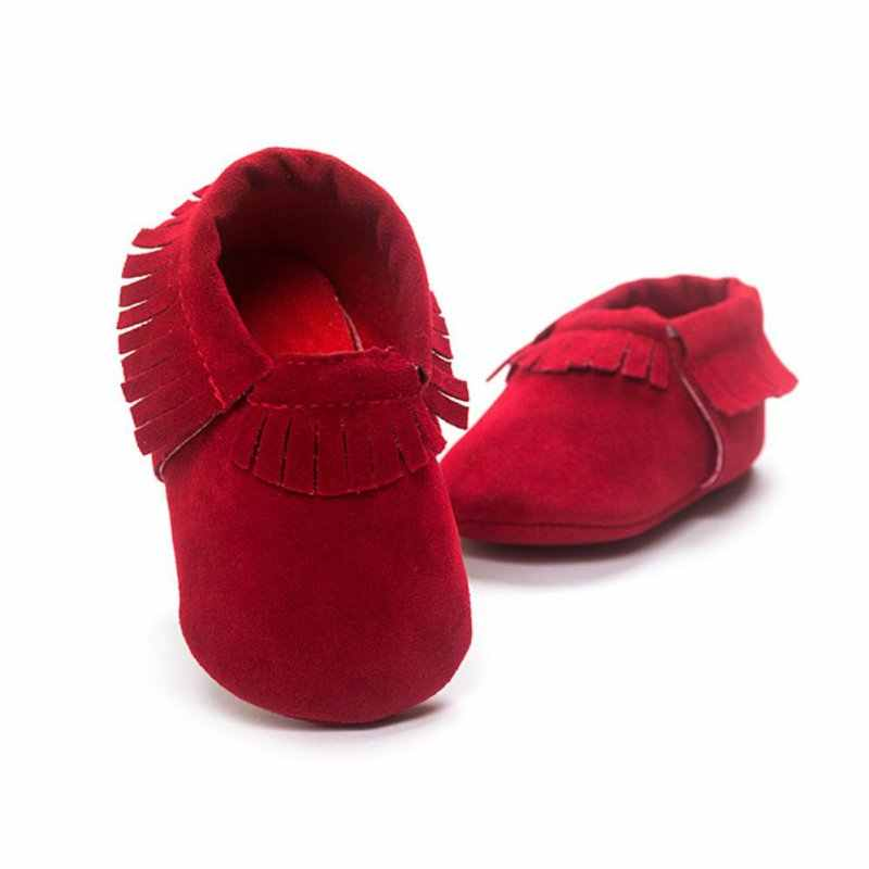 Newborn PU Suede Leather Shoes Baby Boy Girl Baby Moccasins Soft Shoes Fringe Soft Soled Non-slip Crib Shoe
