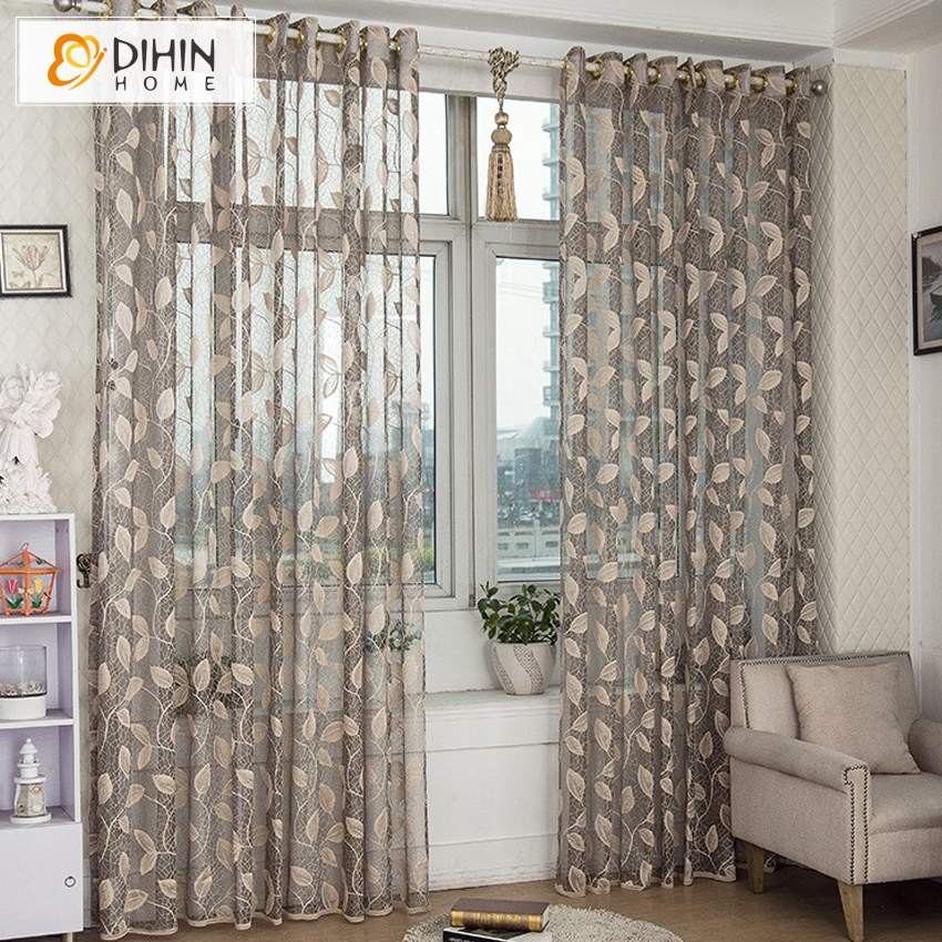 DIHIN HOME New Arrival Window Screening Tulle Leaf Nature