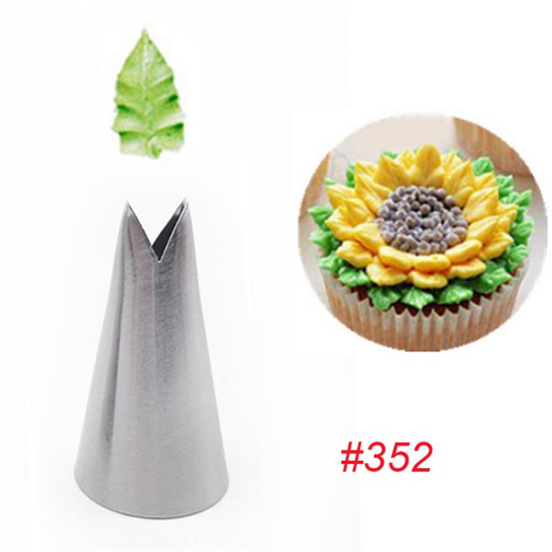 TTLIFE 1Pc Leaf Nozzles Icing Piping Tips Nozzles Pastry Stainless Steel Cream Cupcake Cake Decorating Cooking Tools 352#