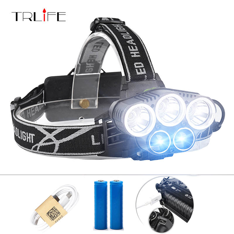 5 LED Headlight 15000LM CREE XML T6 LED Headlamp Head Lamp Light Outdoor Lighting + 2* 18650 Battery + AC/Car/USB Charger 2 in 1 waterproof headlamp headlight xml t6 outdoor sports head lamp front bikelight& 4 18650 battery pack worked charger