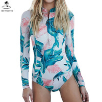 2016 New Summer Beach One Piece Long Sleeve Swimwear Colorful Bathing Suit Surf Board Swimsuit