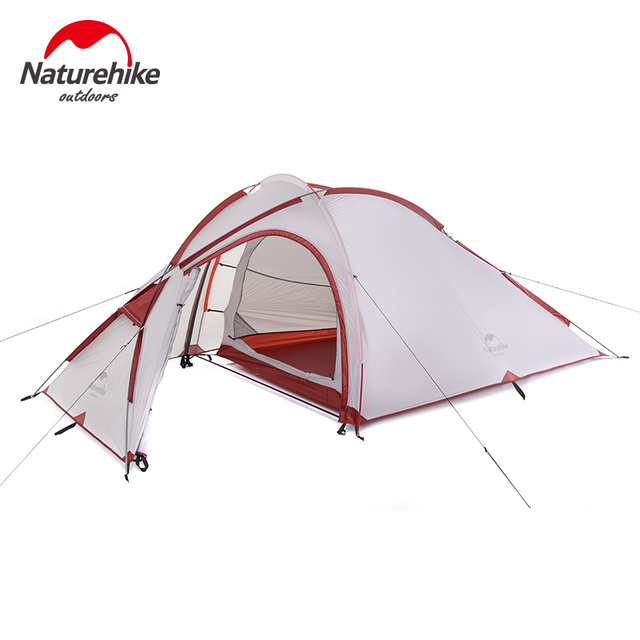 Naturehike Camping Tent 3 Person 20D Silicone One Bedroom One Living Room Double Layers Rainproof NH Outdoor Tent 4 Season