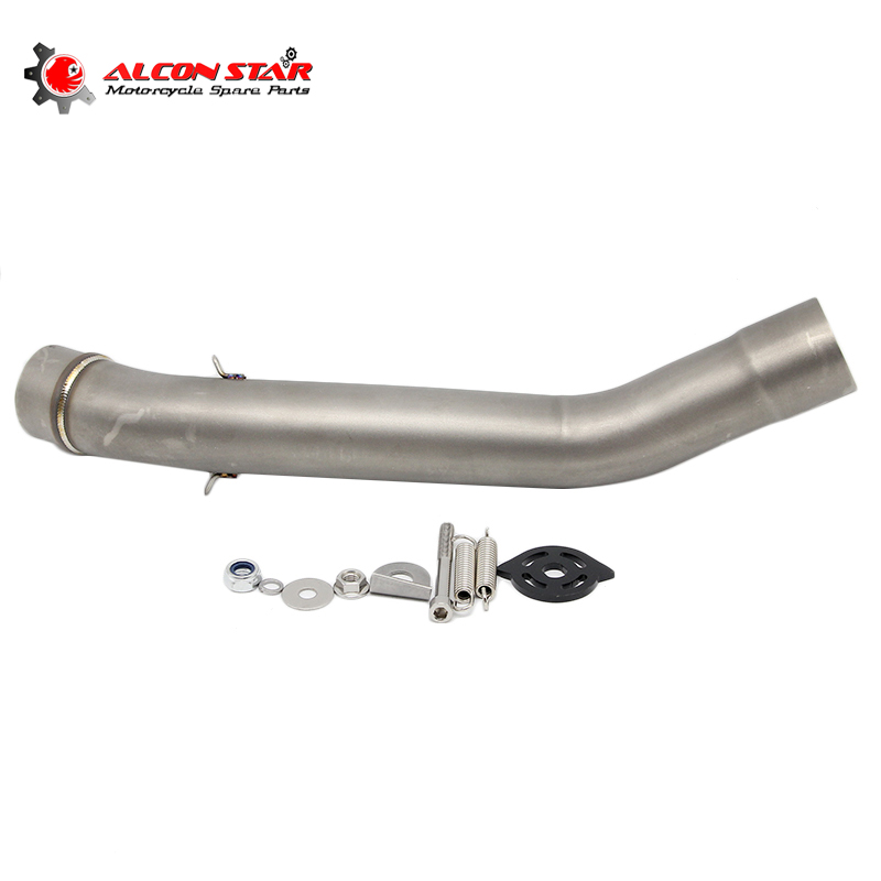 Alconstar- <font><b>Z750</b></font> Motorcycle <font><b>Exhaust</b></font> Middle Pipe Connect Pipe Muffler Link Pipe Middle Section Adapter Pipe for <font><b>Kawasaki</b></font> <font><b>z750</b></font> image