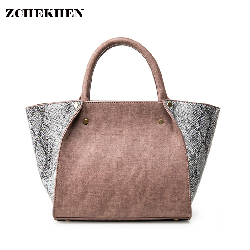 ФОТО 2016 Winter Serpentine Leather Tote Bag Women Trapeze Fashion Designer Handbags High Quality Ladies Bags Vintage Crossbody Bags