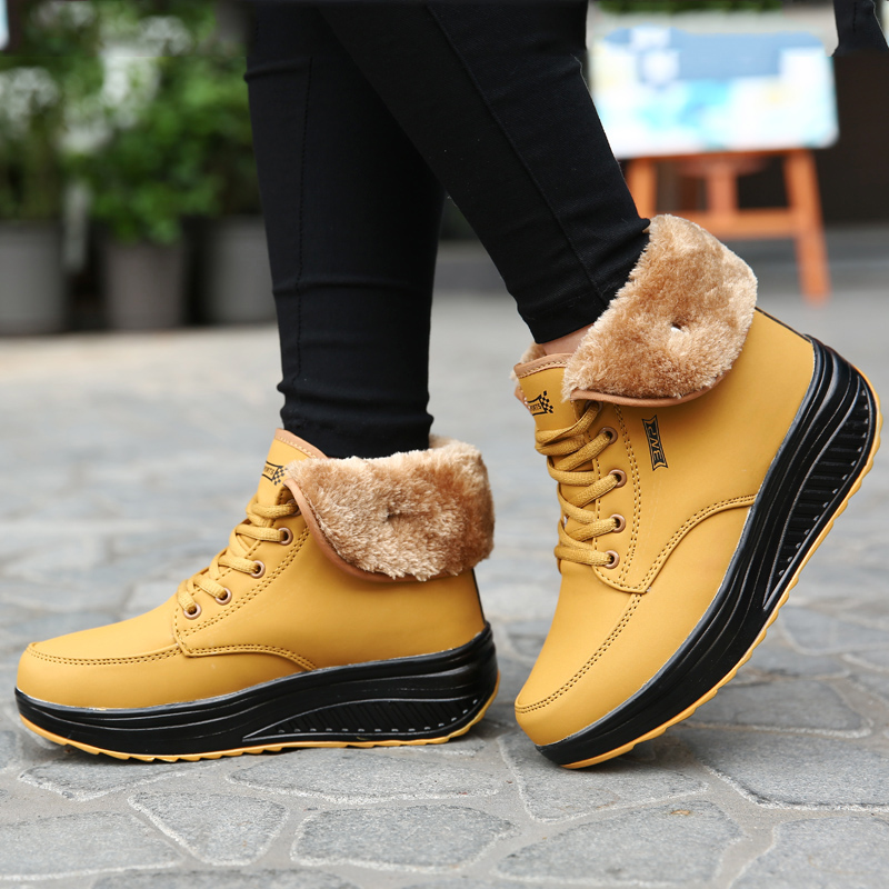 NEW Ms. waterproof boots outdoor sports shoes Womens leather plush warm winter snow boots sneakers swing shoes women