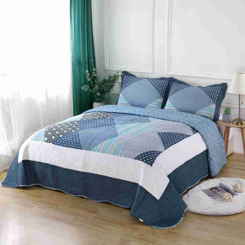 Famvotar Queen Size Luxury Patchwork Quilted Bedspreads Cotton Quilts Set Modern Plaid Lightweight Summer Bedspreads Couvre