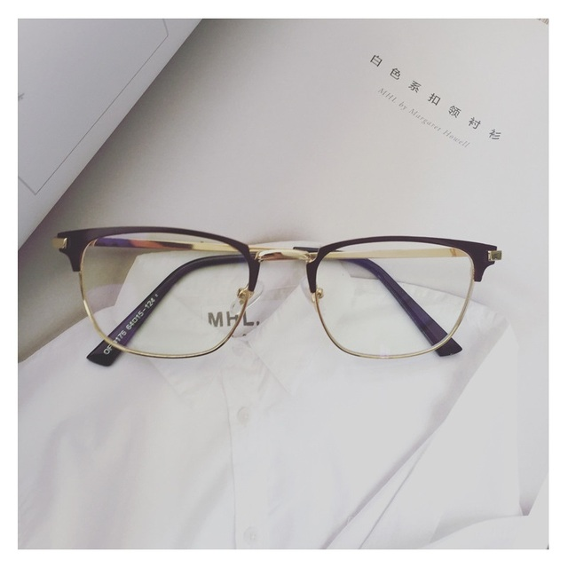 a0a827d448f Best Quality Mens Glasses Frame Metal Square Gold Semi Rimless Slim Eyewear  Male Prescription Optical Plain Lenses Decoration