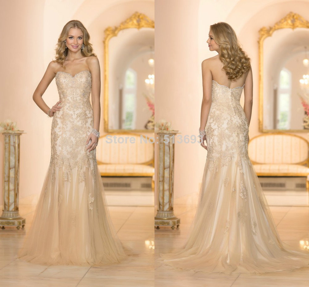 Color gold trumpet lace organza floor length plus size for Wedding dress sizes compared to normal sizes