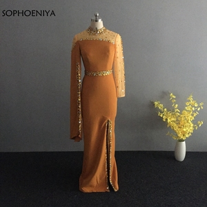 Image 3 - New Arrival High neck Black Evening dress 2020 kaftan dubai Long sleeve mermaid dress Party evening gowns robe de soiree