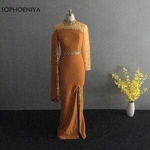 Image 3 - Robe de soirée forme sirène, col haut, manches longues, noire, kaftan, robe doccasion, style dubaï, nouveauté