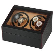 high end p0078 le leather 2 seats automatic watch winder for gift Watch Automatic Box Watch Winder for 4 Automatic Watches Black Mixed Material High-end Black Leather Storage Boxes clock winder