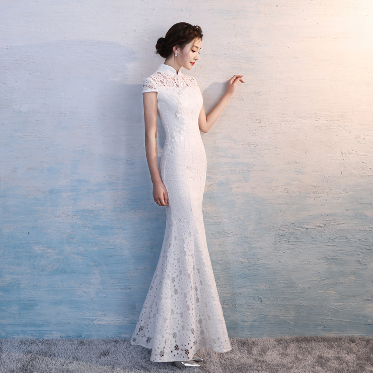 White 2018 Summer Long Cheongsam Vintage Chinese Style Lace Qipao Gown Womens Party Slim Dress Retro Lady Clothing Vestidos