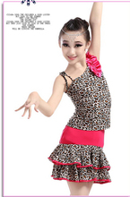 Hot sell 2 pcs 100-160cm rumba latin dance dress tango samba leopard print competition professional girl child dress costume