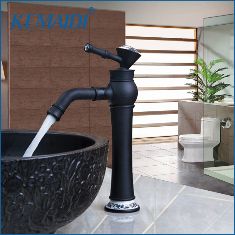 KEMAIDI Bathroom Basin Faucets Oil Rubbed Bronze  Single Handle Swivel Wash Sink Mixer Vessel Vanity Torneira Faucet Tap Black allen roth brinkley handsome oil rubbed bronze metal toothbrush holder