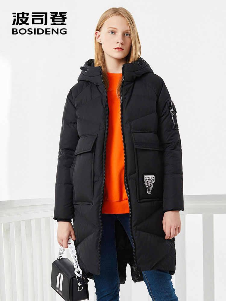 BOSIDENG Женский Свободный Повседневный модный пуховик с капюшоном и большими карманами, теплая Длинная зимняя парка B70141108