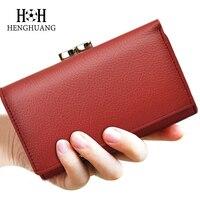 HH Women Genuine Leather Wallet Luxury Brand Short Wallets Female Kiss Hasp Coin Purse Mini Zipper