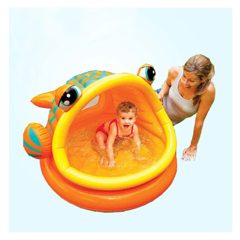 inflatable baby kid child swimming pool water play game fun pool soft inflatable bottom big fish frog with sunshade big pool