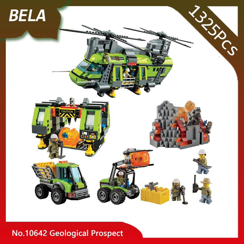 Bela 10642 City Series 1325pcs Volcano Supply Helicopter Geological Prospect Building Blocks Toys Compatible with Legoings