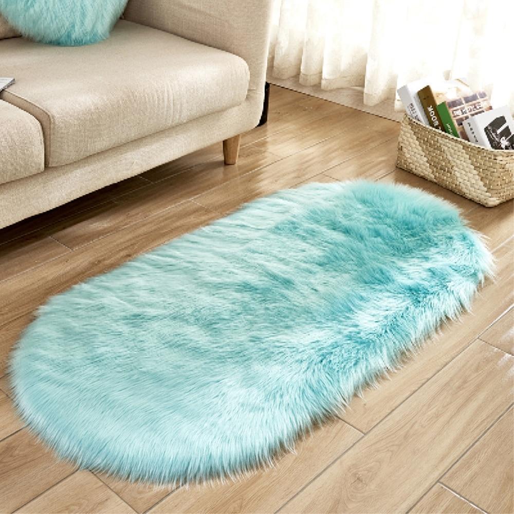 Artificial Wool Oval Carpet Sheepskin Hairy Floor Mat Seat Pad Fur Plain Fluffy Soft Area Rug Tapete Carpets Sky Blue