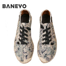 2017 Nouveau Chanvre Chaussures Homme Chaussures Appartements Hommes Toile Chaussures hommes Occasionnels Chaussures Espadrilles Zapatillas Hombr Zapatos Mujer Grande Taille 45