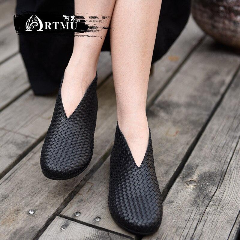 Artmu الأصلي جديد شقة الوحيد حذاء من الجلد اليدوية نسج النساء أحذية جلد طبيعي بسيطة النساء أحذية 1187 9-في أحذية الكاحل من أحذية على  مجموعة 1