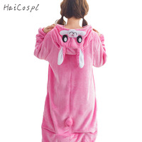 Rabbit Pajama Women Adult Animal Cosplay Costume Pink Lovely Onesie Soft Warm Flannel Sleepwear Girl Party