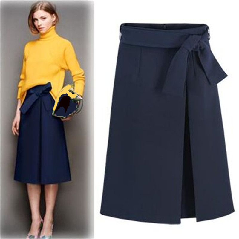 UK 2020 Spring Summer Brand New Fashion  Style Women Navy A-line Mid-calf Skirt Career Bow Saia Female Clothing