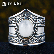 GUYINKU Natural Moonstone Jewelry Solid 925 Sterling Silver Gemstone Rings For Women Men Couple Ring For Loves Anniversary Gifts leige jewelry anniversary rings natural green amethyst rings round cut gemstone solid 925 sterling silver elegant ring for women