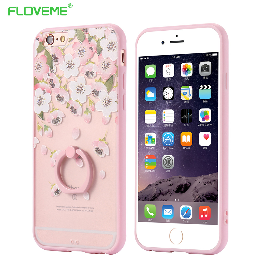 6S Plus Metal Finger Ring Stand Hard PC Back Case For iPhone 6 6S 4 7