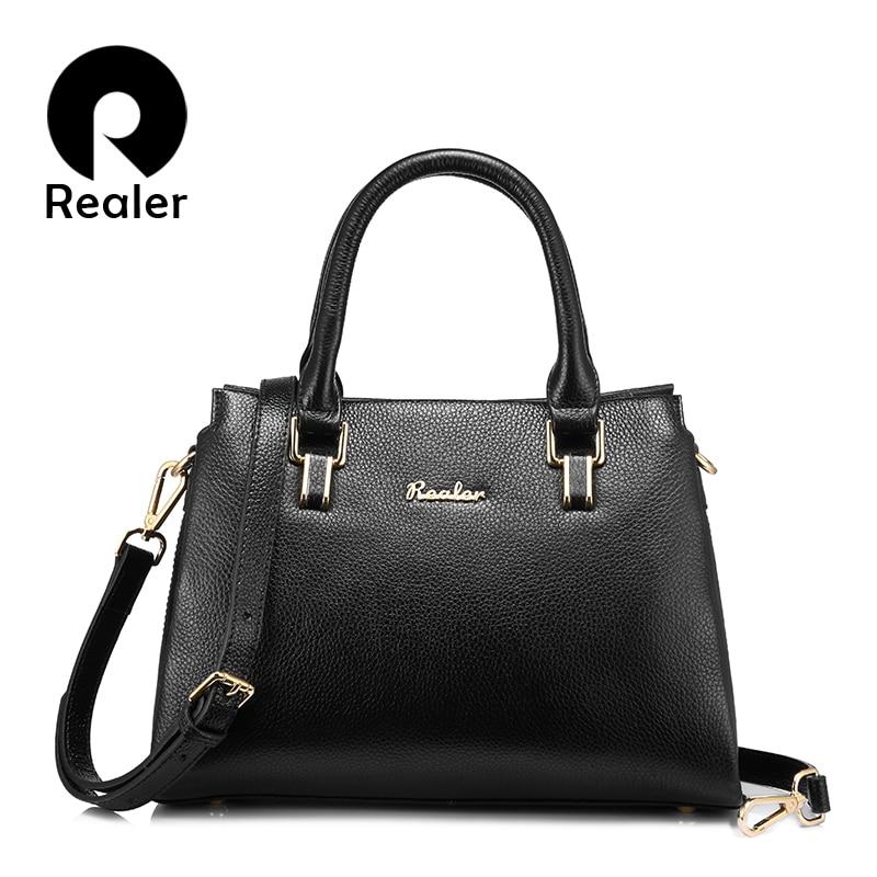 Realer Women Handbags Genuine Leather Luxury Shoulder Bag Fashion Zipper Messenger Bag Large Capacity Cross-body Bag Top-handle