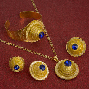 Image 3 - Hot Ethiopian Jewelry Sets Coptic Cross Gold Color Sets Nigeria Eritrea Kenya Habesha Style