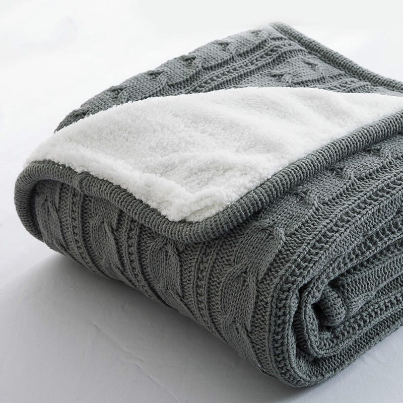 Hot 100% Cotton High quality Sheep velvet Blankets Winter warmth Knitted wool blanket Sofa/Bed cover quilt Knitted blanket
